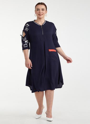 Sementa Büyük Beden Kol Detaylı Cepli Kadın Elbise - Lacivert Lacivert